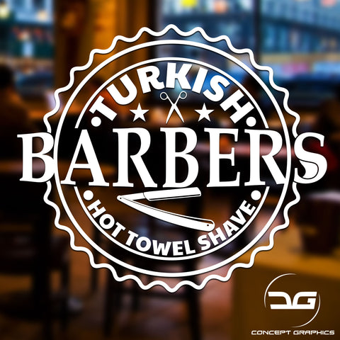 Turkish Barber Shop Vinyl Decal Sticker Window Sign