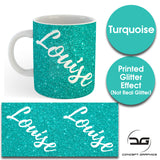 Custom Personalised Name Printed Spectrum Turquoise Glitter Effect Coffee Mug Cup