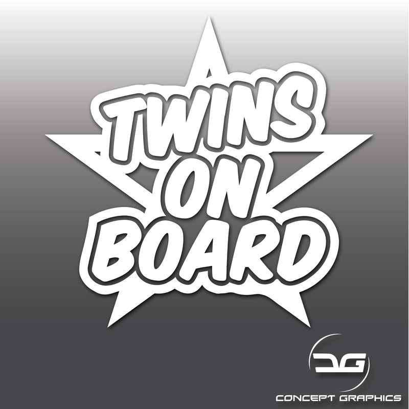 Twins On Board Funny Car, Bus, Van Vinyl Decal Safety Sticker