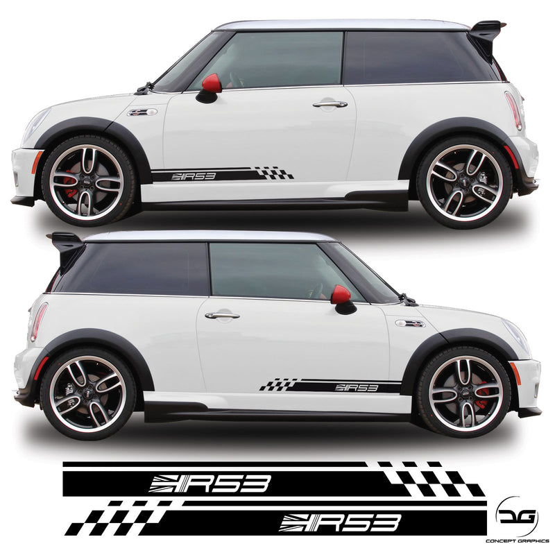 R53 Mini Cooper S One, Side Stripe Racing Vinyl Decal Sticker Graphics