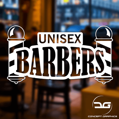 Unisex Barbers Window/Wall Vinyl Decal Sticker Sign
