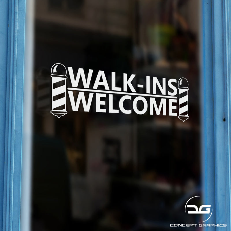 Barber Shop Walk-Ins Welcome Vinyl Decal Sticker Sign