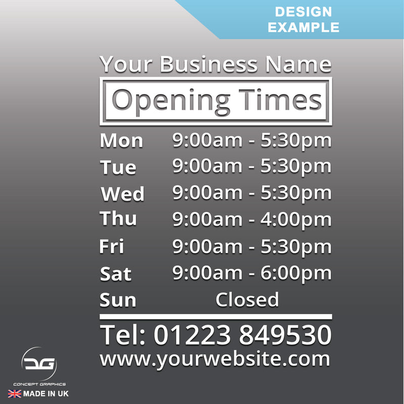 Business Wall Mounted Opening Times Sign Design