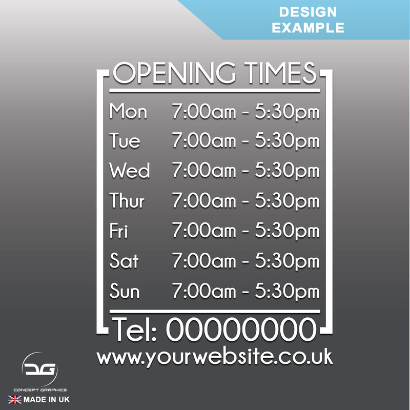 Modern Wall Mounted Opening Times Sign Design