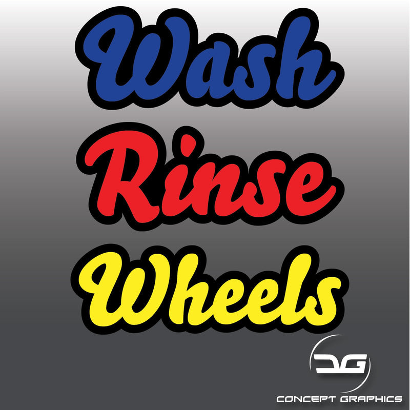 Car Detailing Outline Wash, Rinse & Wheels Vinyl Bucket Decals