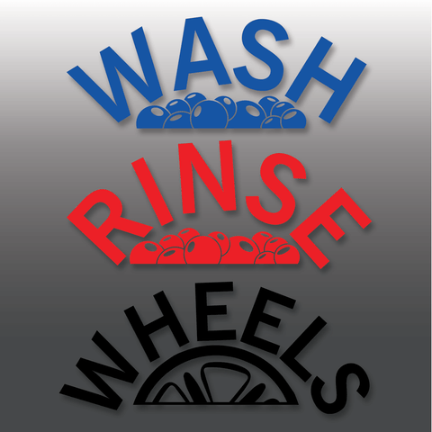 Car Detailing Arch Effect Wash, Rinse & Wheels Vinyl Bucket Stickers