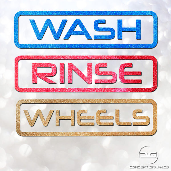 Box Outline Wash, Rinse & Wheels Glitter Vinyl Bucket Stickers
