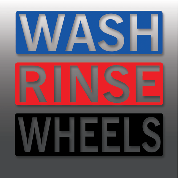 Car Detailing Wash, Rinse & Wheels Vinyl Bucket Stickers