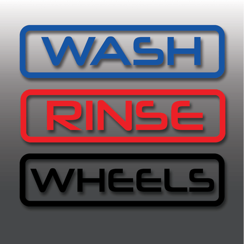 Wash, Rinse & Wheels Vinyl Car Detailing Bucket Stickers