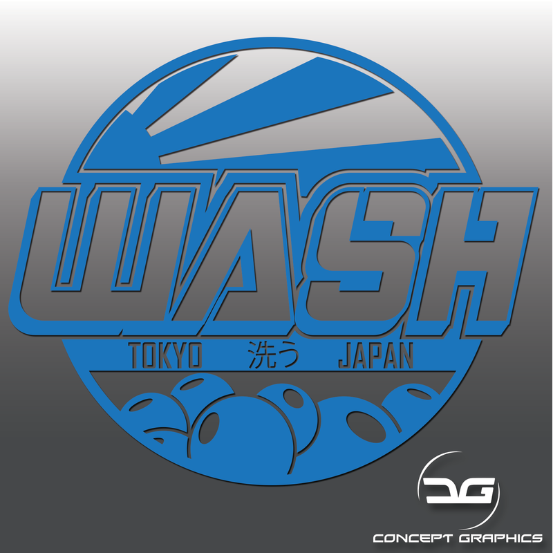 Large Japanese Themed Car Detailing Wash Vinyl Bucket Sticker