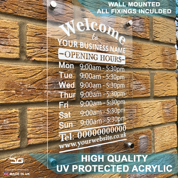 Acrylic Wall Mounted Personalised Business Opening Times Sign