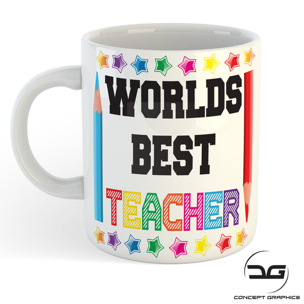 Worlds Best Teacher Thank You End of Term Leaving Gift Coffee Mug Cup