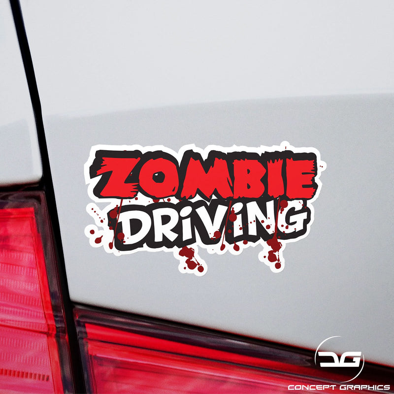 Zombie Driving Funny Novelty Car Van Vinyl Decal Sticker