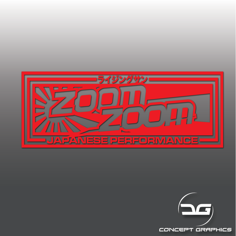 Zoom Zoom Japanese Performance JDM Drift Car Vinyl Decal Sticker