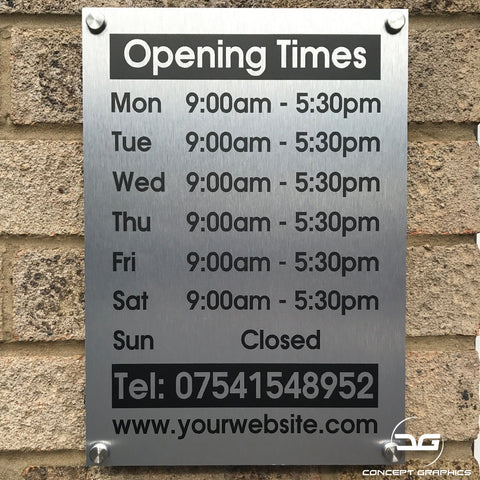 Personalised Wall Mounted Brushed Aluminium Shop Opening Sign
