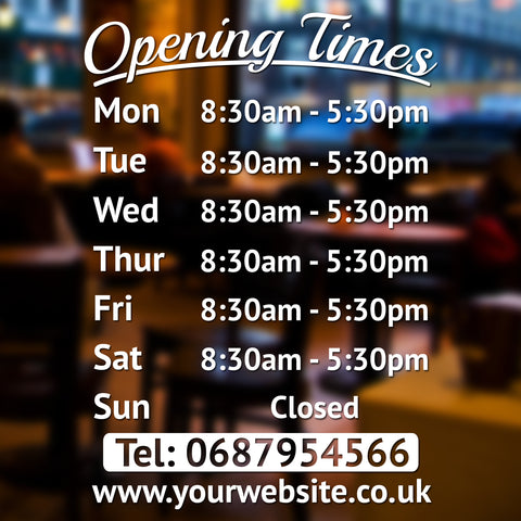 Personalised Custom Opening Hours Times Vinyl Decal Sign for Coffeshops, Barbershops, Salons, Retail