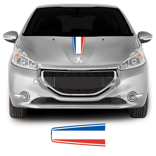 Peugeot 208 2012 onwards French Flag Bonnet Racing Stripe Vinyl Decal Sticker Graphic