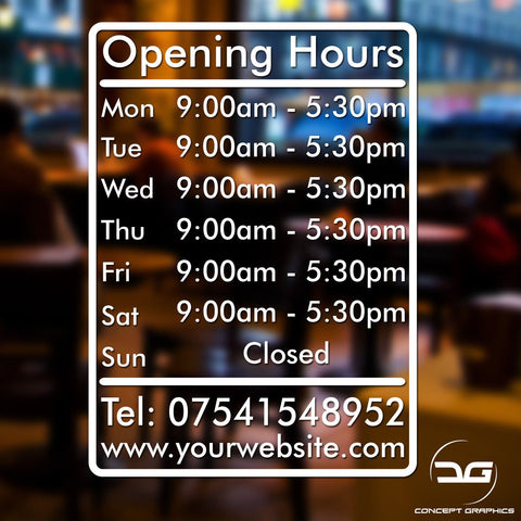 Personalised Custom Opening Hours Times Vinyl Decal Sticker Sign With Website & Tel Information