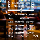 Barber Shop Personalised Opening Hours Times Window Vinyl Decal Sign