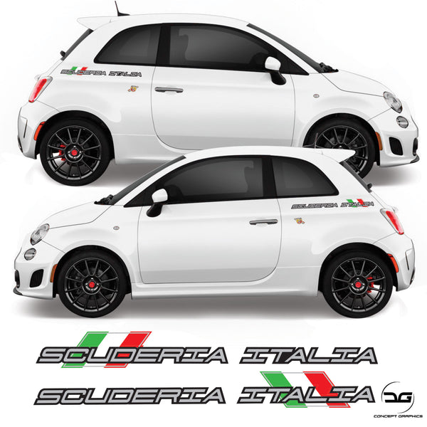 Fiat 500 595 695 Abarth Scuderia Italia Side Vinyl Decal Sticker Graphics