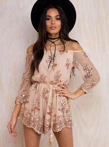 NUDE FLORAL PLAYSUIT