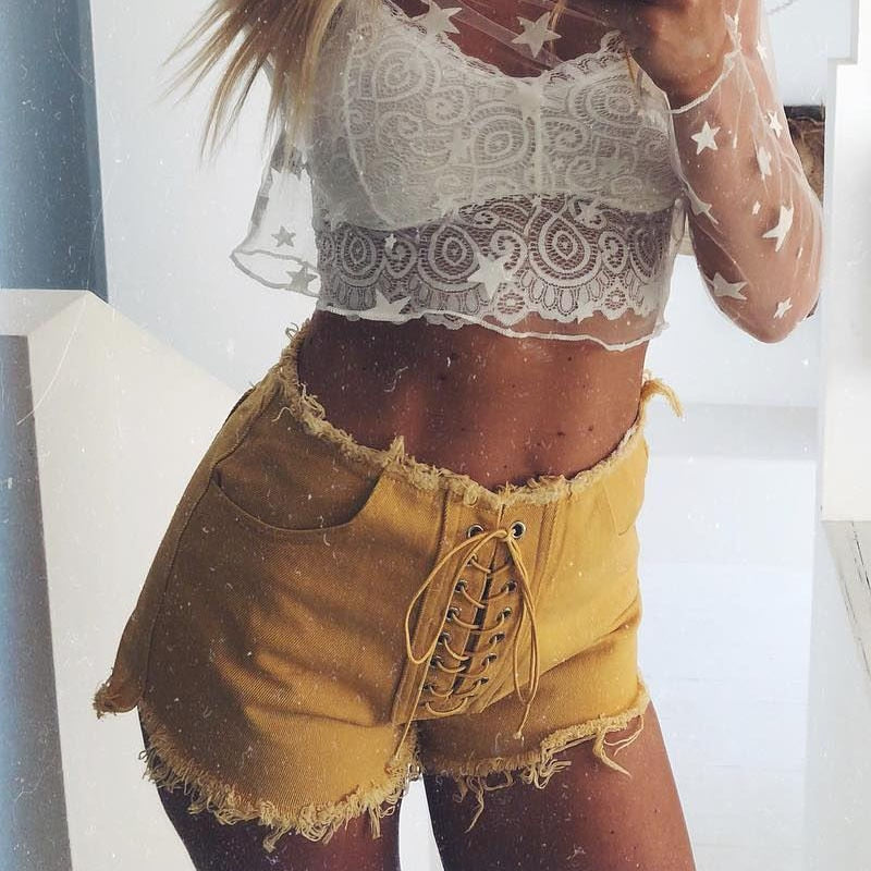 BETTE LACED SHORTS - GOLD