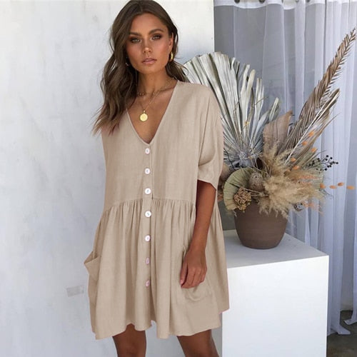 DESTYNE SUMMER DRESS - KHAKI