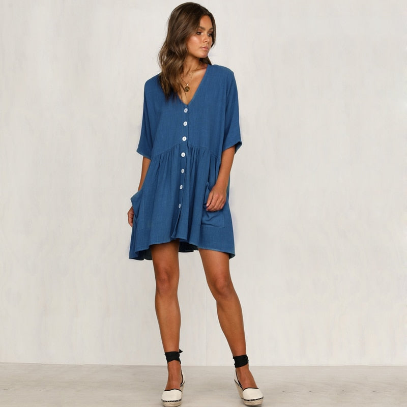 DESTYNE SUMMER DRESS - BLUE