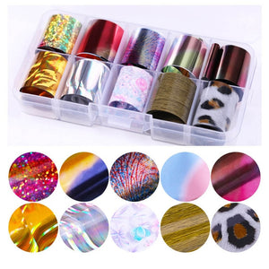 10 Pcs Holographic Nail Foil Set