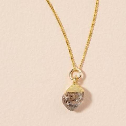 Diamond pendant on gold chain - APRIL