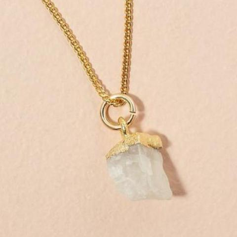 Moonstone pendant on gold chain - JUNE