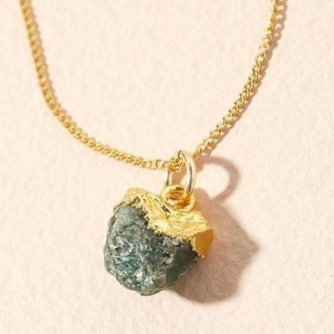 Emerald pendant on gold chain - MAY