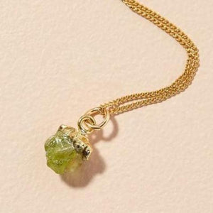 Peridot pendant on gold chain - AUGUST
