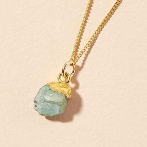 Aquamarine pendant on gold chain - MARCH