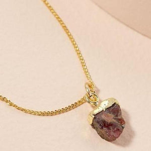 Garnet pendant on gold chain - JANUARY