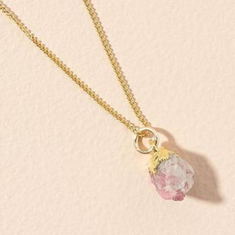 Pink tourmaline pendant on gold chain - OCTOBER
