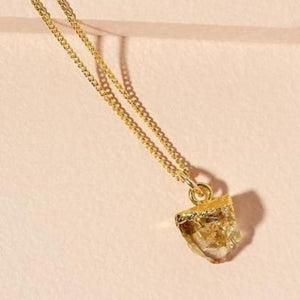 Citrine pendant on gold chain - NOVEMBER