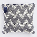 Handmade, cruelty free cushion in navy wave aalto design