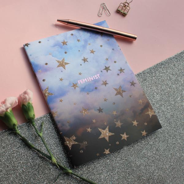 NIKKI STRANGE Sustainable notebook with cloudy star design and FEMINIST metallic foil print on the centre