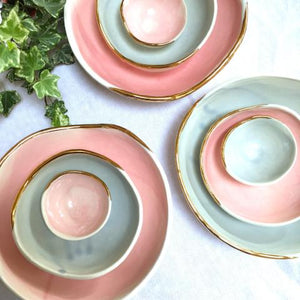 Danu handmade porcelain bowl pink and grey