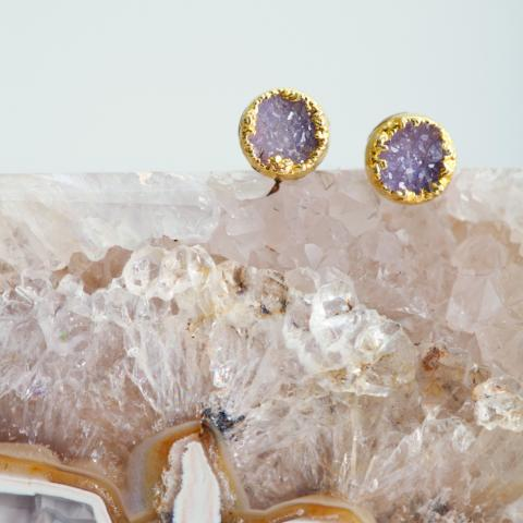 Decadorn Ethical Circle Drusy Stud Earrings Lifestyle
