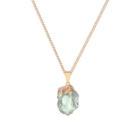 Glacier Large Gemstone Necklace in Green Amethyst