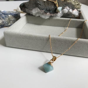 Mini Pyramid Pendant - Mint Green Jade (Confidence)