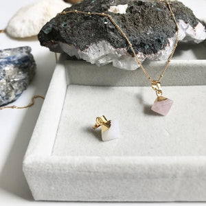 Mini Pyramid Pendants shown in White jade and in Rose Quartz