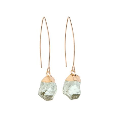 Glacier Raw Cut Crystal Dropper Earrings Green Amethyst