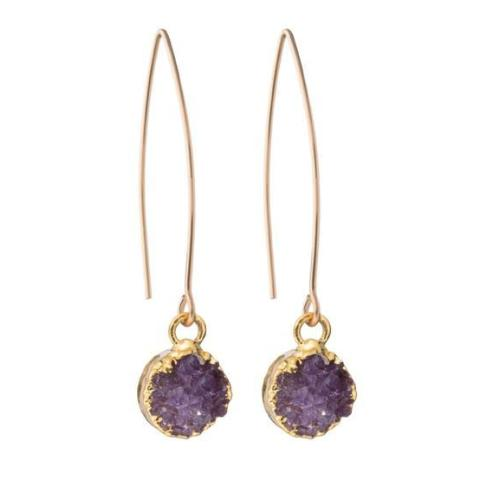 Amethyst drusy dropper earrings