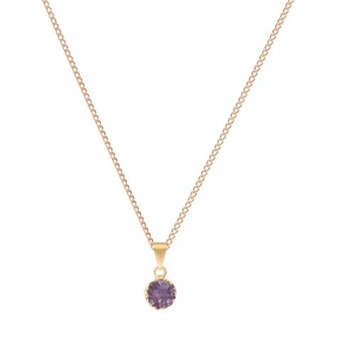 Circle Drusy Necklace - Amethyst
