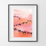 NIKKI STRANGE Art print illustration of camels in a pink desert