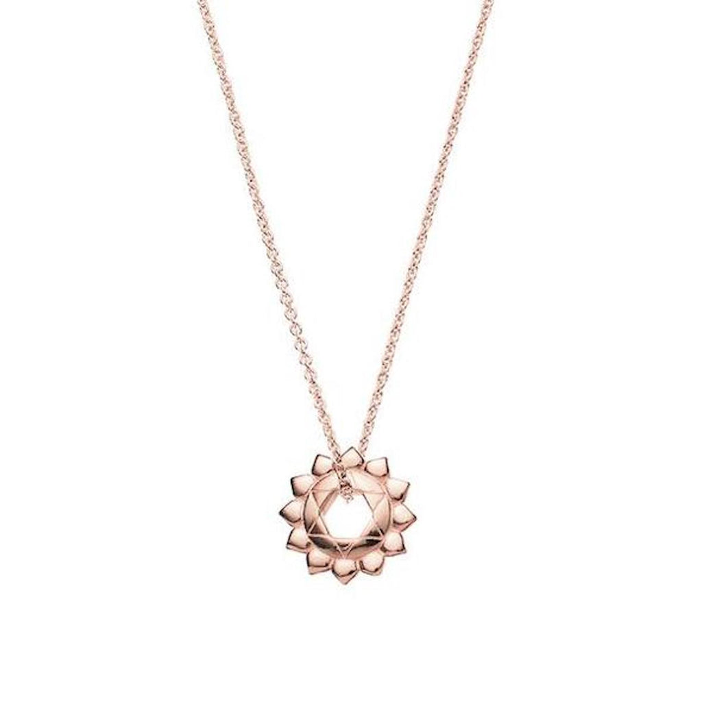 Ethical, rose gold heart chakra necklace