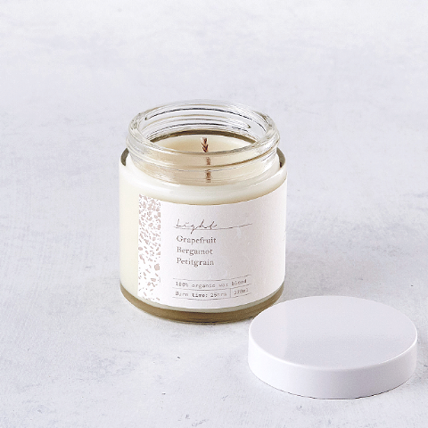 Light - Luxury Coconut Wax Candle open jar
